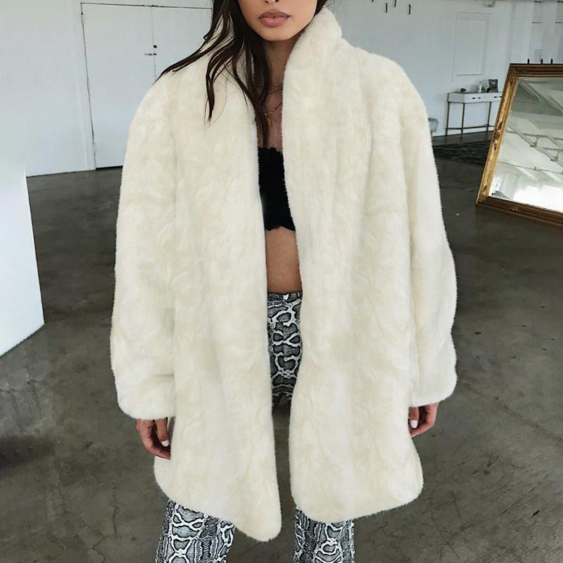 Compre Blanco Invierno Otoño Peludo Faux Fur Largo Abrigo Mujeres Gruesa  Cálida De Manga Larga Para Mujer Chaqueta De Abrigo Abrigo Más Tamaño 3X  6Q2390 A ... 125b6313d78