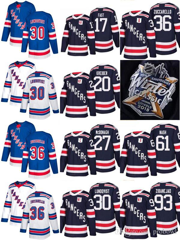 online retailer 4759d e0fd2 New season York Rangers Men Mats Zuccarello Zibanejad Rick Nash Henrik  Lundqvist Ryan McDonagh Fast Chris Kreider 2018 Winter Classic Jersey