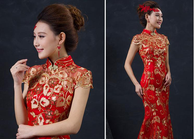 e50ec5278 Red Chinese Wedding Dress Female Long Short Sleeve Cheongsam Gold Slim  Chinese Traditional Dress Women Qipao party cheongsams