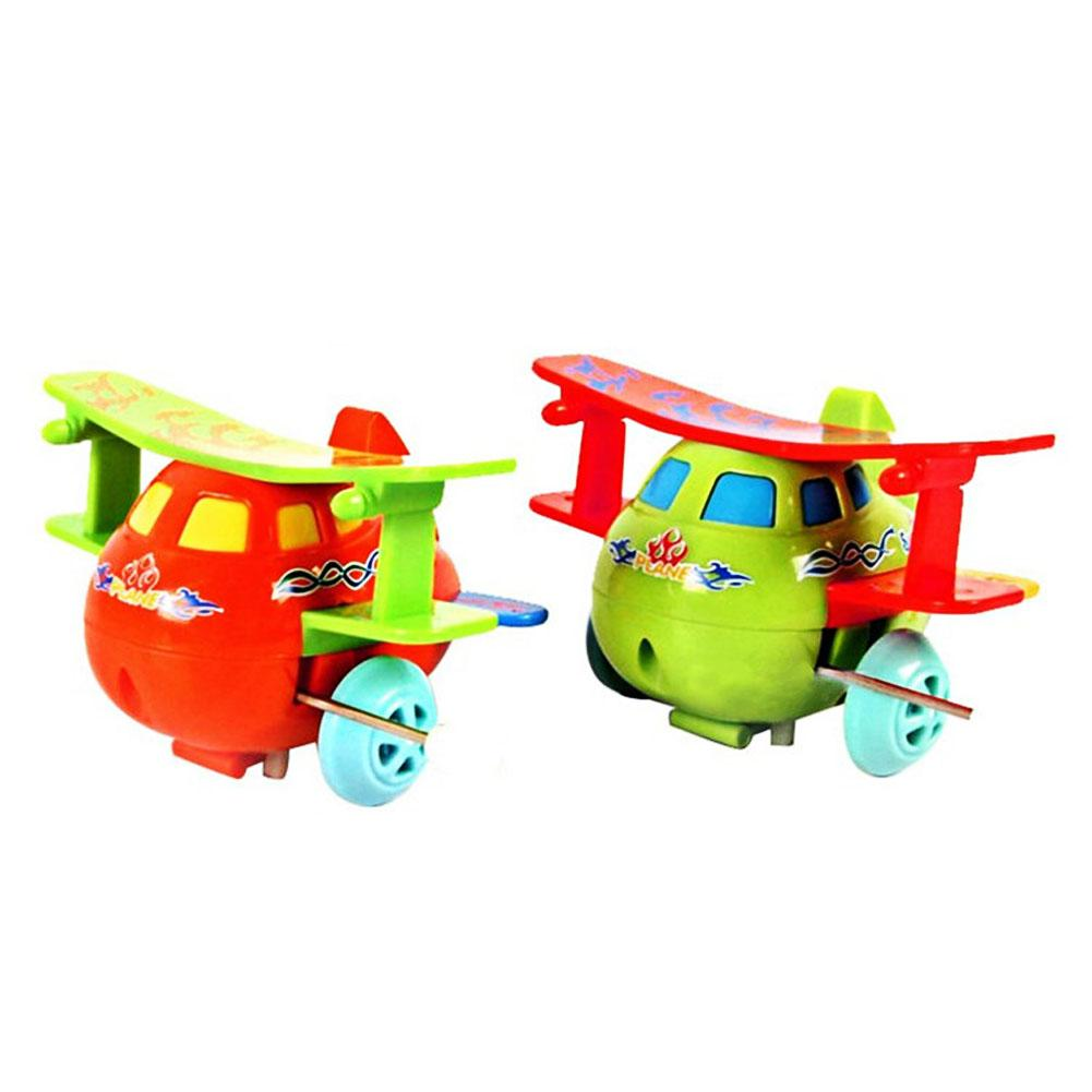Baby Kids Clockwork Toys Cartoon Plastic Airplane Model Wind Up Toys Running Clockwork Spring Toy Toys for Children Gift color random