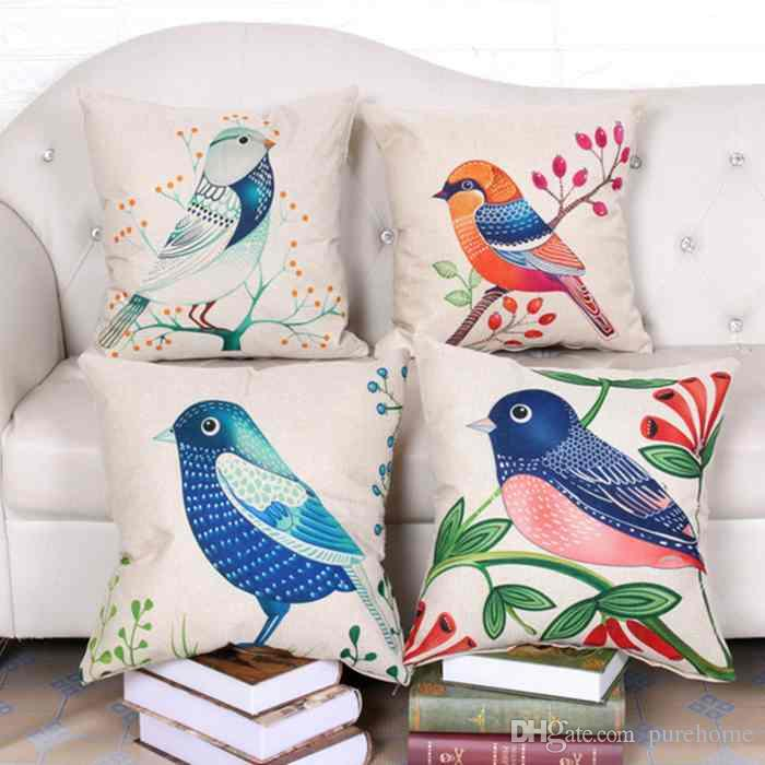 Cartoon Spring Birds Serie Federa Lino Federa Divano Auto Tiro Cuscino 45 * 45 CM Home Cafe Ufficio Decorazione Regalo per Amico