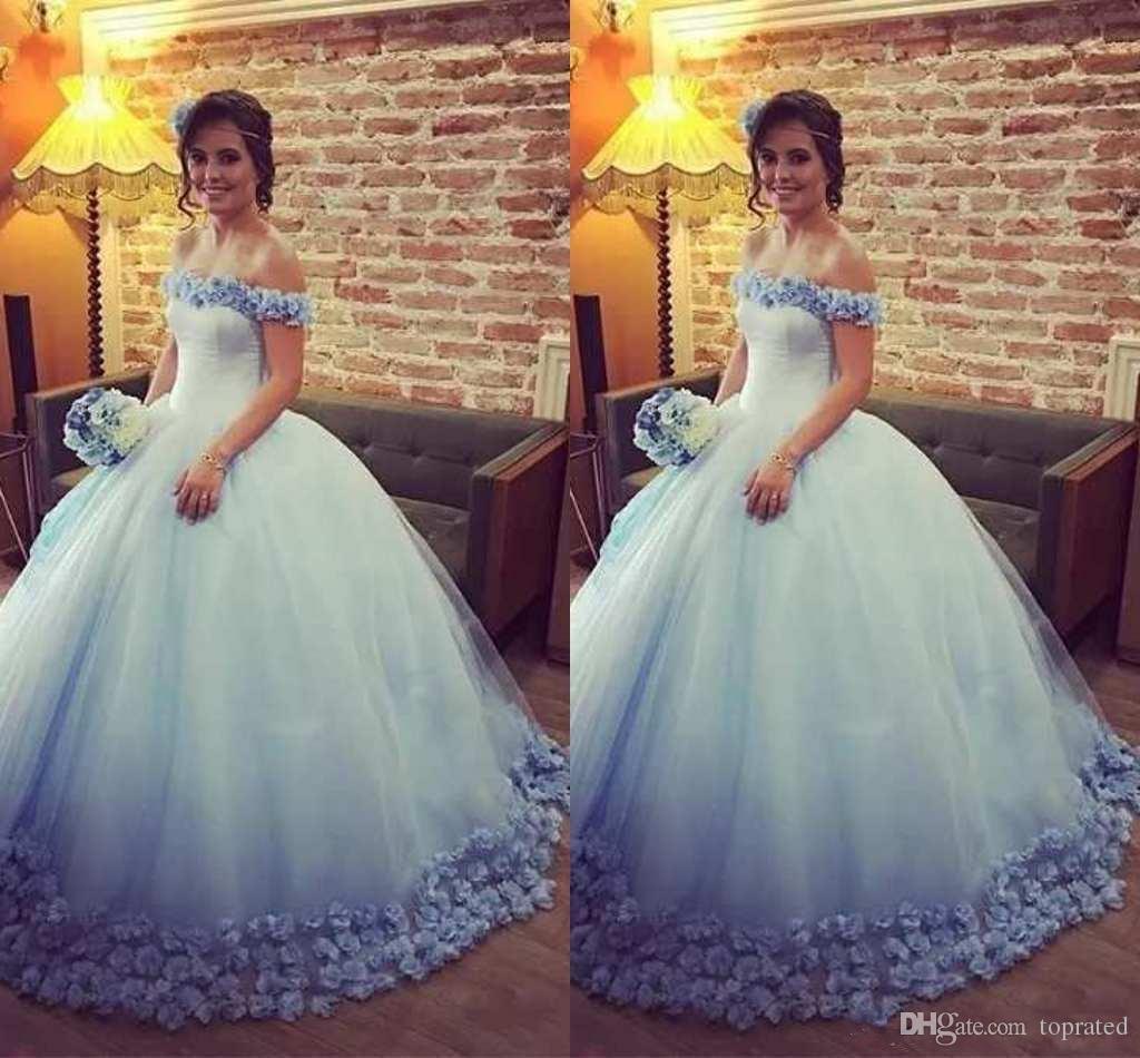 293913d04e76 2018 Light Blue Quinceanera Dresses Ball Gown Off The Shoulder 3D Handmade Flowers  Tulle Sweet 15 Dresses Vestido De Quinceanera De Oro Rehearsal Dinner ...