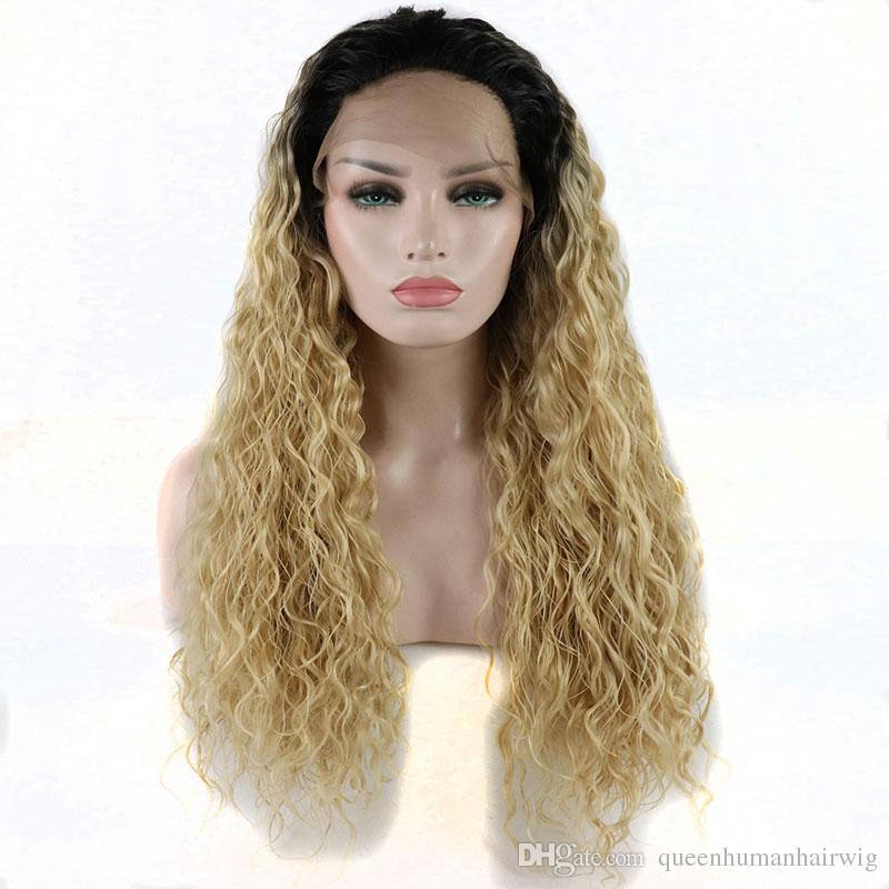 Heavy Density Water Wave Synthetic Lace Front Wig Dark Roots Ombre Blonde Heat Resistant Fiber With Natural Hairline