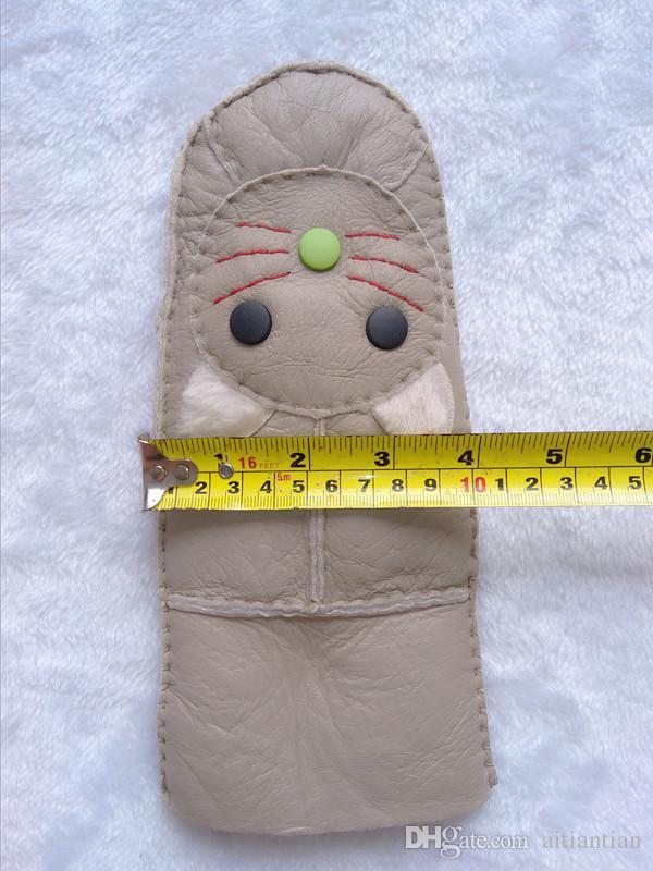 Ücretsiz kargo yeni kadın eldiven kedi desen moda eldivenler sevimli sıcak hakiki yün deri kadın eldiven