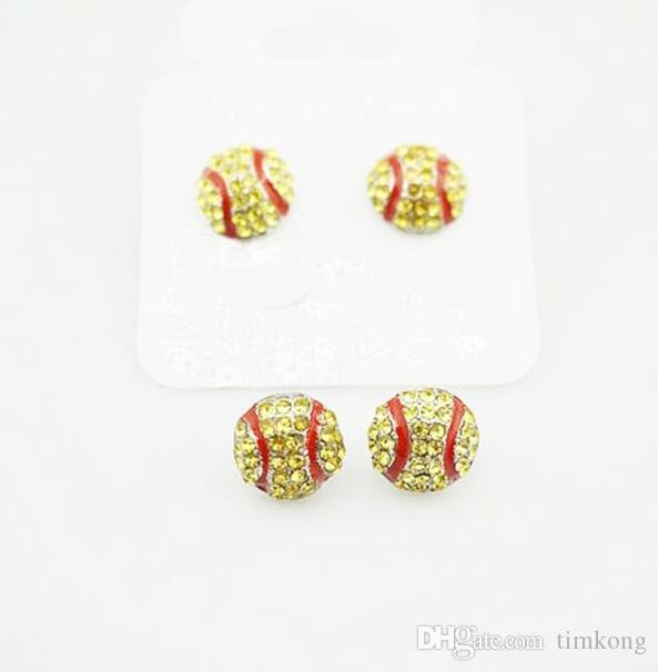 package waterproof high qulity Softball Earrings Stud Crystal Rhinestone Post Silver Bling Yellow Fastpitch 14mm Sport and Fashion