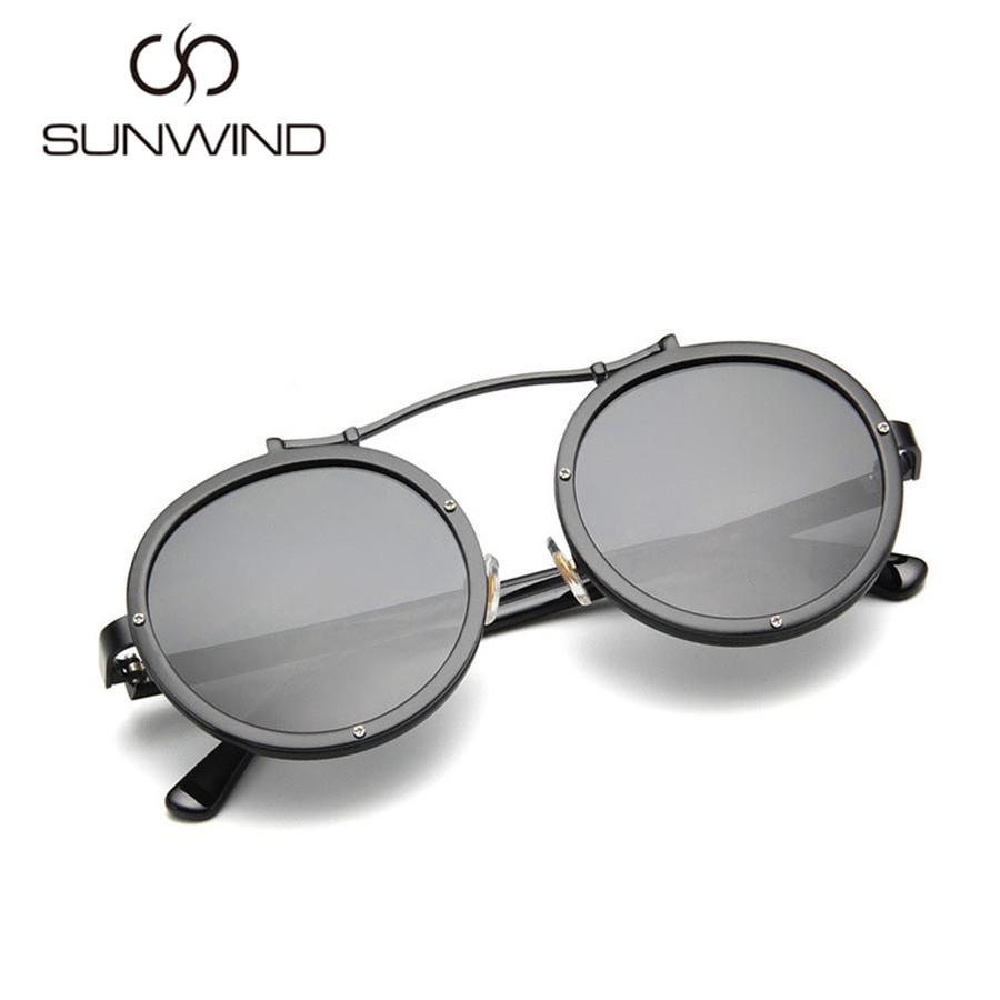 209f49ef3e Vintage Steampunk Men Sunglasses Round Women Brand Designer Coating ...