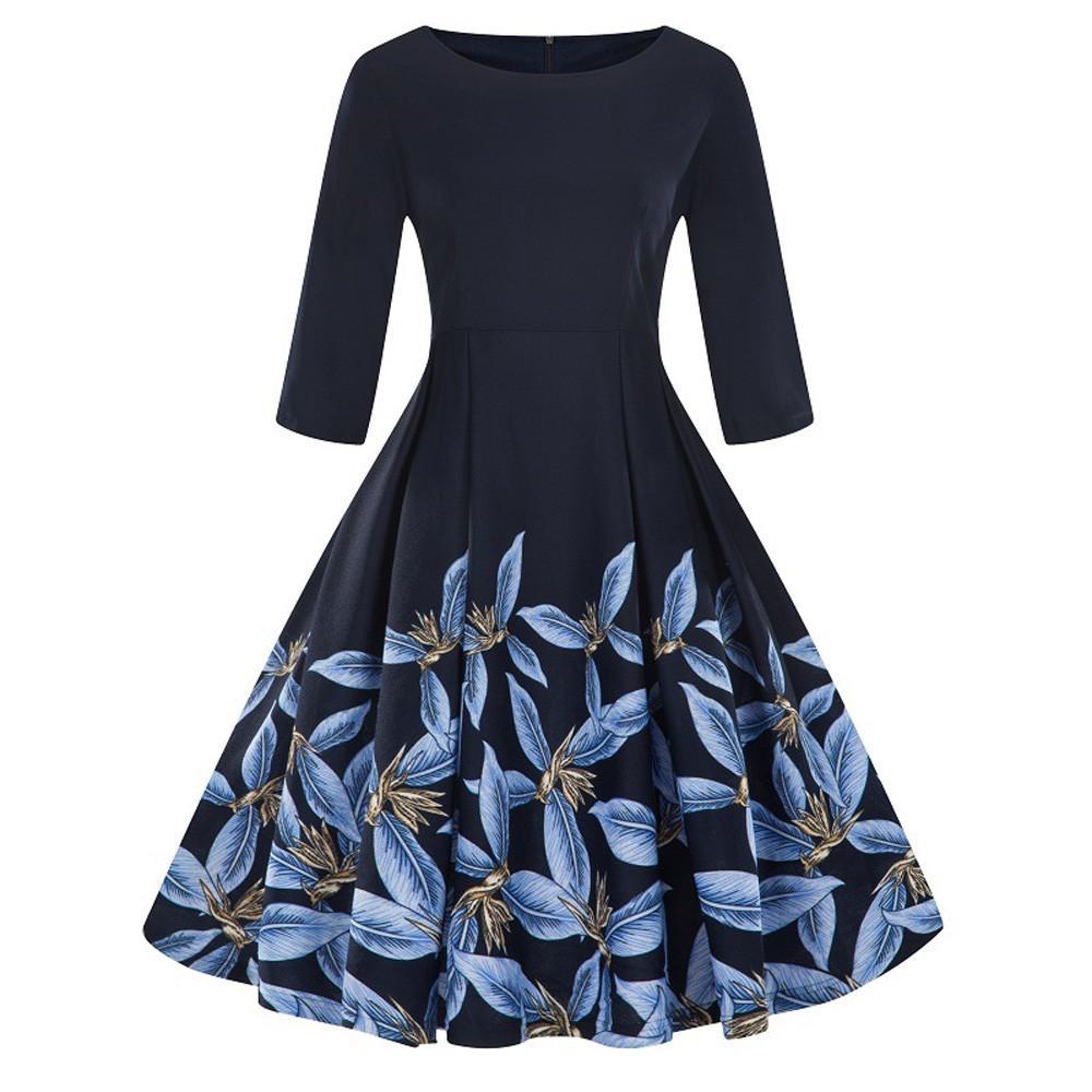 c336cdcd2a3716 Großhandel Mode Frauen Plus Größe 3 4 Hülse Vintage Dress Blumendruck Retro  Schaukel Dress Frauen Kleider Sommer Casual Vetement Femme 2018 Von  Movearound