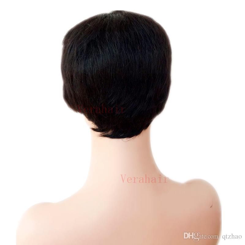 Cheap Short Cut human black hair Wig For Black Women None Full Lace Brazilian Virgin Straight Hair Gluless Lace Front Human Natural Hair Wig
