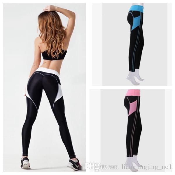67f559c87bbda2 2019 Women Yoga Fitness Leggings Running Gym Heart Shape Sports High ...