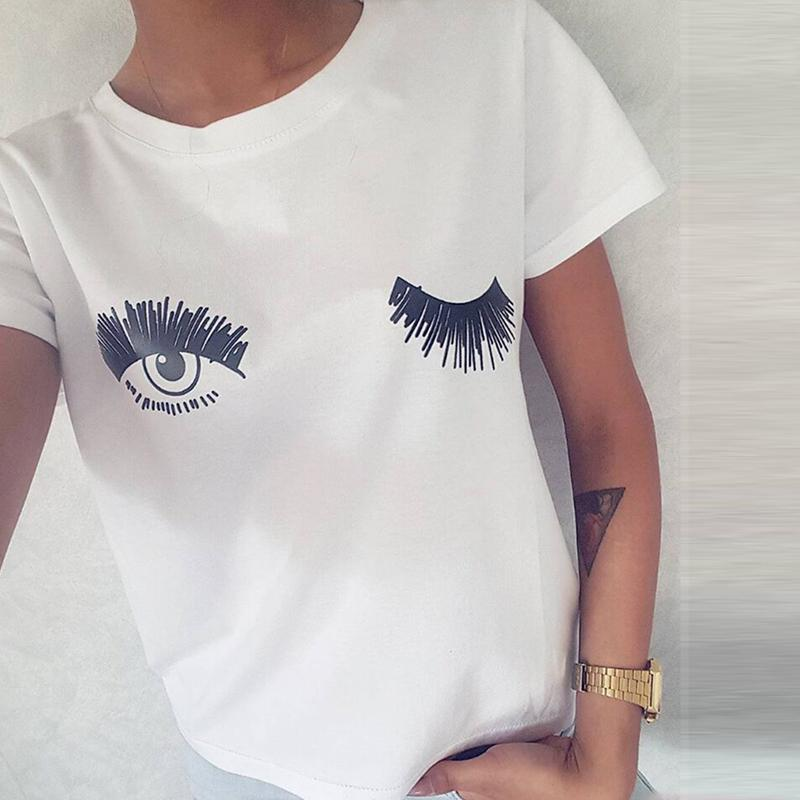 c5e6bba364a New Casual Women Tops Short Sleeve Tshirts Cute T Shirts Wink Eyes And  Eyelashes Printed White O Neck Summer Blusas Shirt Designer Customised T  Shirts From ...