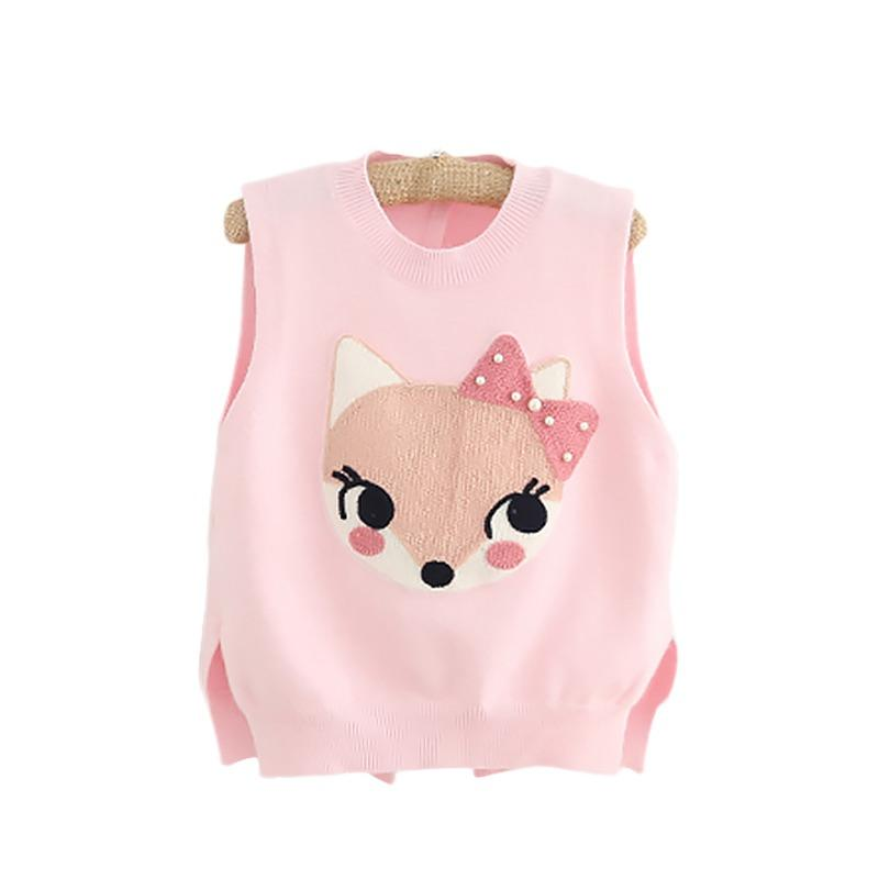 2018 Spring Fall New Girls Knitted Vest Sweaters Baby Kids Cartoon