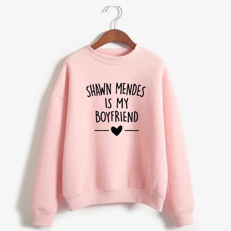 255a19a5 Satın Al Shawn Mendes Hoodies Kadın Erkek Harajuku Sonbahar Kış Kazak Shawn  Mendes Benim Erkek Arkadaşım Mektubu Baskılı Rahat Kazak Olduğunu, ...