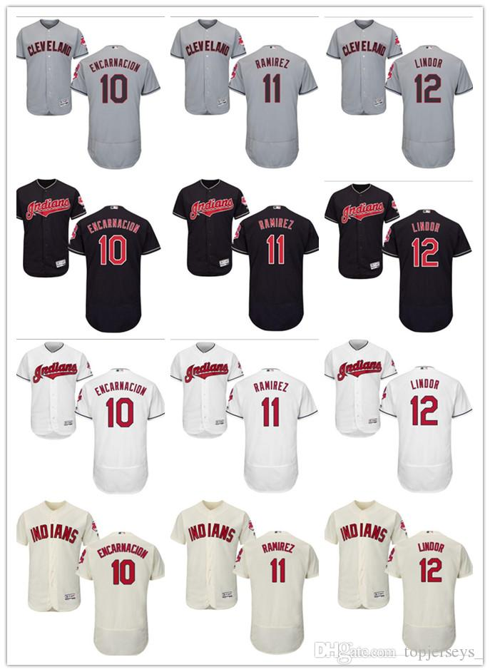 pretty nice 5ce33 a49a8 custom Men women youth Majestic Indians Jersey #11 Jose Ramirez 10 Edwin  Encarnacion 12 Francisco Lindor Red Grey White Baseball Jerseys