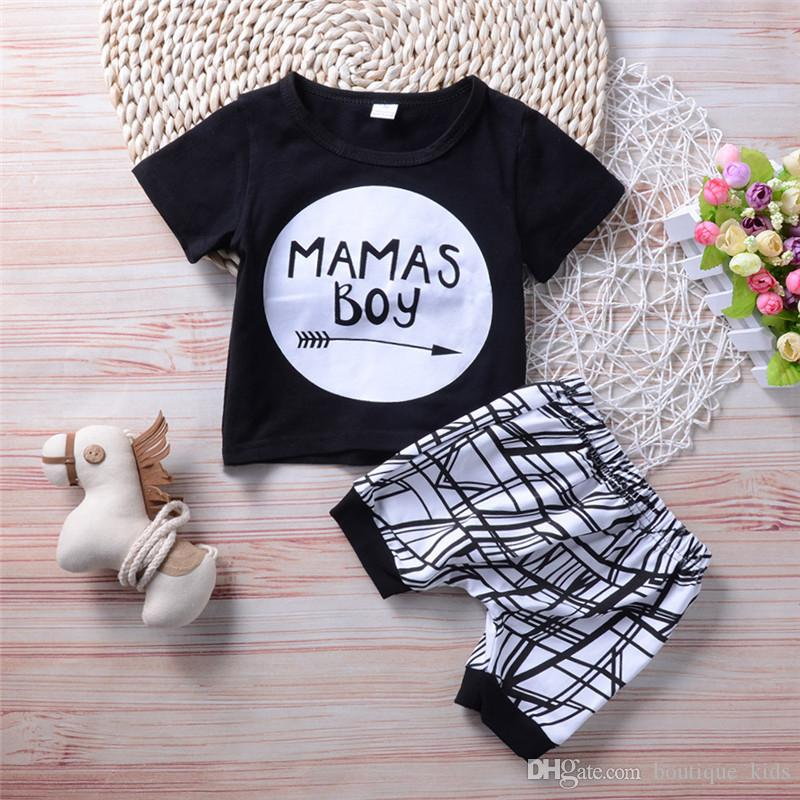 a443abe14ba3 2019 Newborn Baby Boy Clothes Set 2018 Summer Short Sleeve T Shirt + ...
