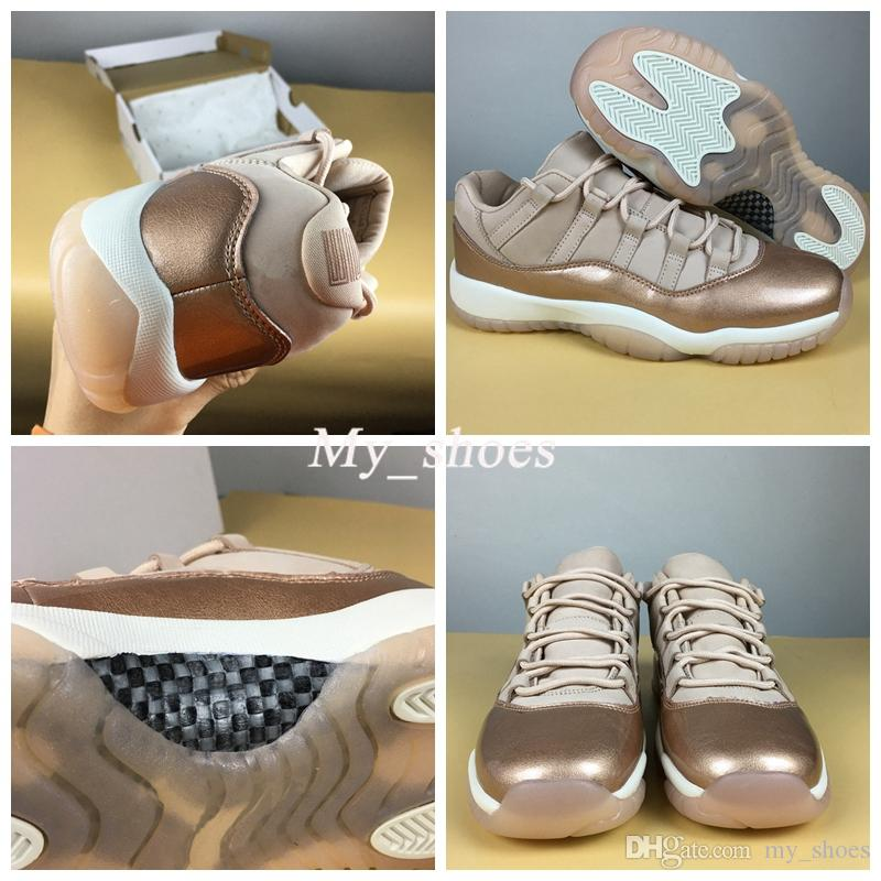 67c425279e21 2019 New 2018 11 Low GS Rose Gold Women Basketball Shoes WMNS Sail Metallic  Bronze Gum Brown Designer Shoes Womens Athletic 11s Sneakers From My shoes