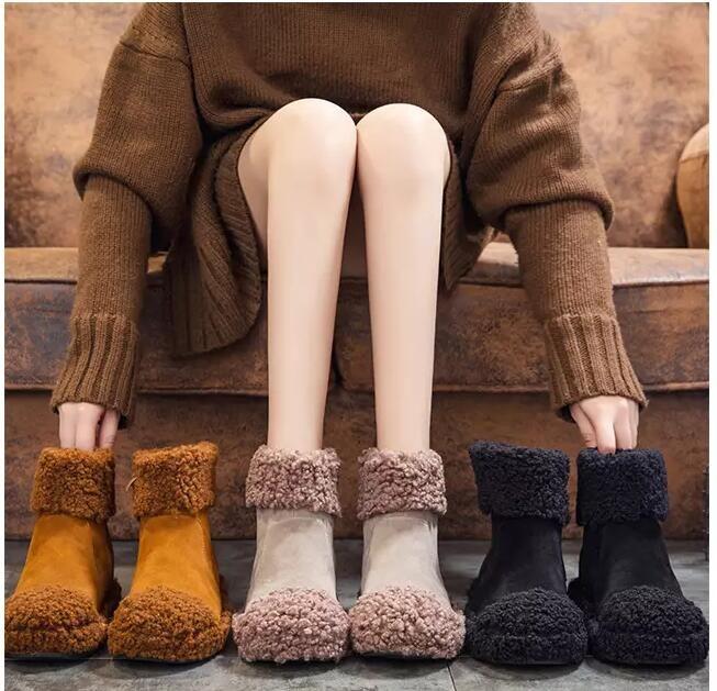 427a3a76 Compre Moda Joven Invierno Zapatos Para Mujer Botas De Nieve Talón Plano  Botines Zapatos Zapato Hyoma Cepillado Fresco Zapatos De Piel Dedos  Redondos Envío ...
