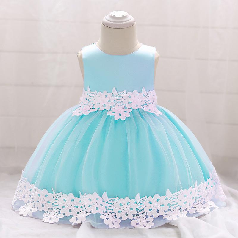 b6e60ce6eabd7 2019 Flower Baby Girl Dress 2018 Infant First Birthday Girl Party Dresses  Princess Cute Sleeveless Baby Christening Ball Gown From Anglestore, ...