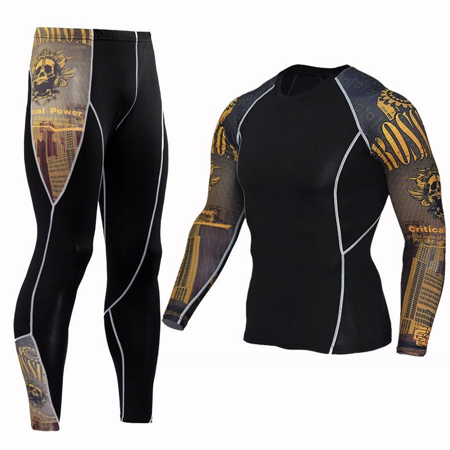 748810c686f6a Compre 2 Pçs   Set Calças + Camiseta Sportswear Compressão Corrida De  Basquete Jerseys Treinamento De Futebol Calças Justas Skinny Collants  Ginásio Dos ...