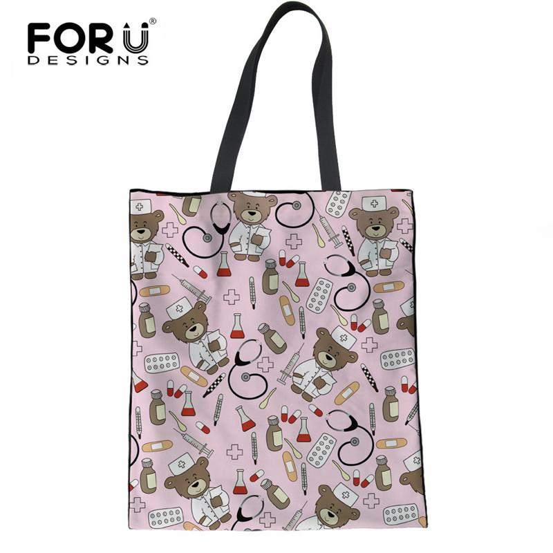 5229a01cc427 FORUDESIGNS Eco-Friendly Canvas Shopping Bag Nurse Bear Printing Travel  Large Tote Bag Supermarket Grocery Linen Handbags