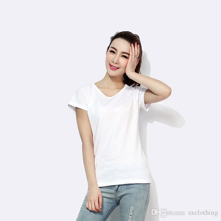 7452217e3ba Fahion Casual Soild Color Round Neck White T Shirt Women Cotton T ...