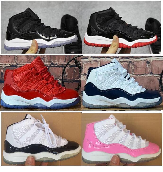 e672266d4e95c Acheter Enfants 11 11s Space Jam Bred Concord Gym Chaussures De Basket Ball  Rouge Enfants Garçon Filles Blanc Rose Marine Minuit Sneakers Toddlers  Cadeau ...