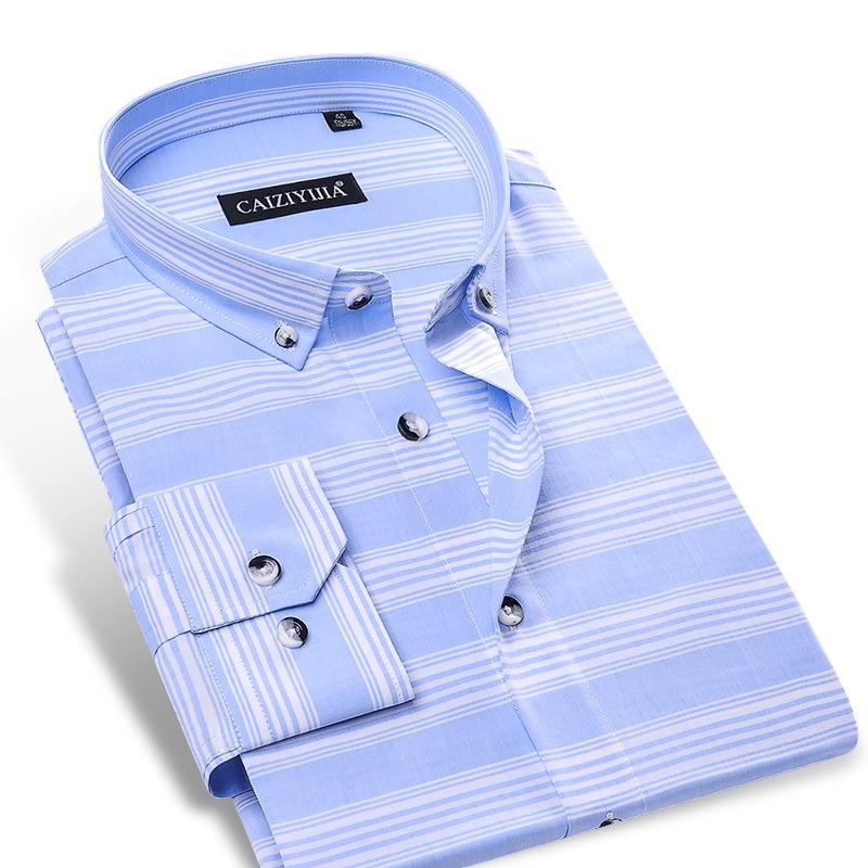 b99b687f8f Compre Listras Horizontais Dos Homens Azul Celeste   Branco Camisa Sem Bolso  Manga Longa Confortável Macio 100% Algodão Slim Fit Botão Down Camisas De  ...