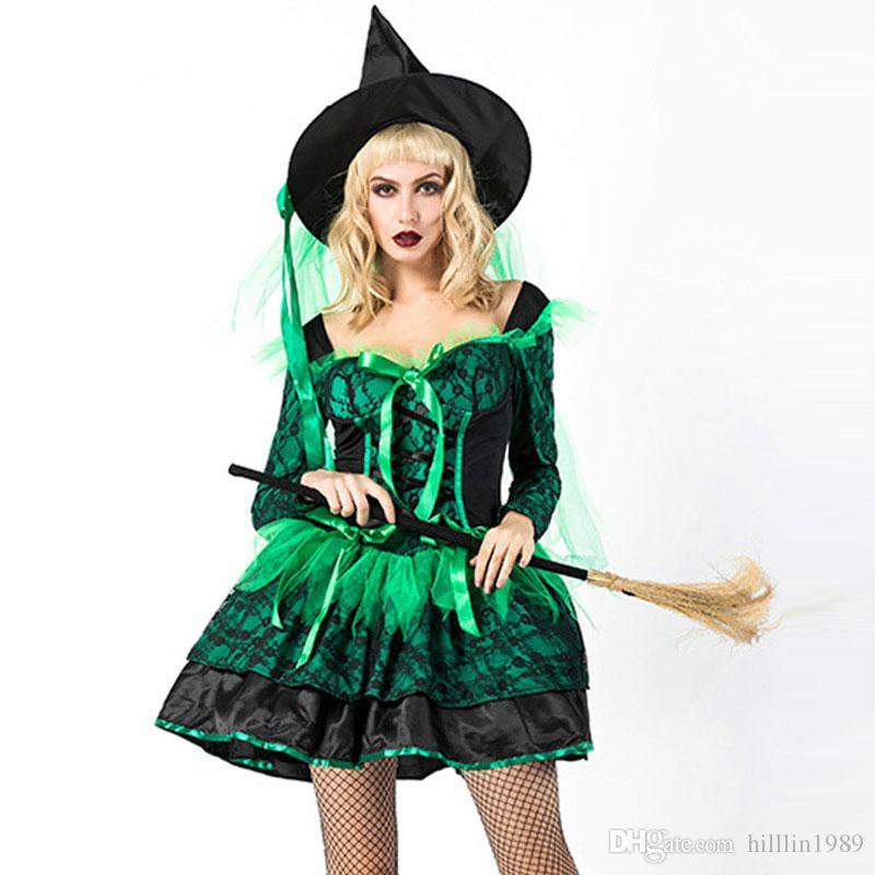 Stregone Strega Costume Femminile Sexy Verde Halloween Acquista OxYSnS