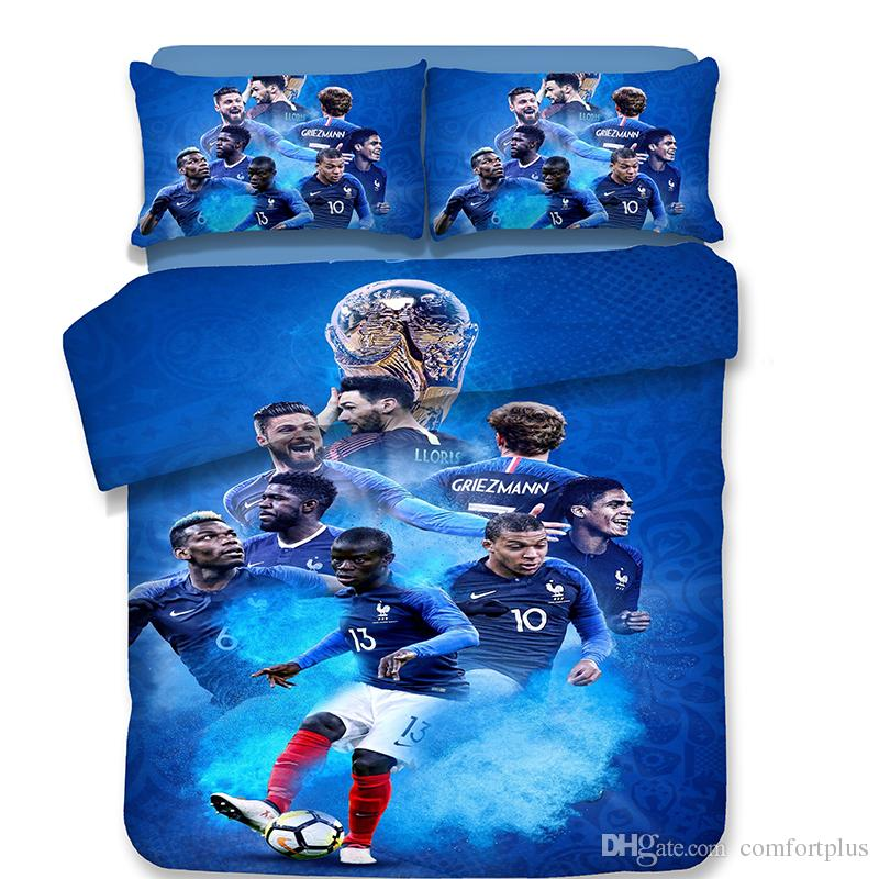 Country World Cup Football Pattern Bedding Set Of Quilt Cover & Pillowcase Twin Full Queen King Size
