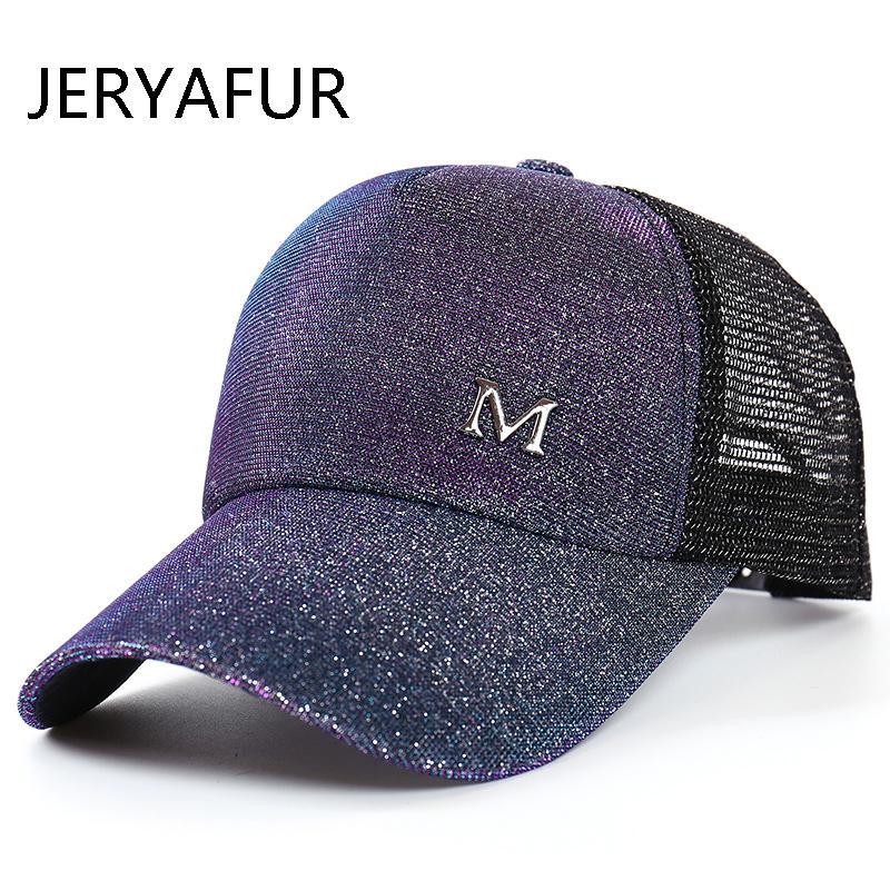 eb1ec0937570f 2018 JERYAFUR Summer Female Sequins Ponytail M Mark Baseball Cap Men Women  Chameleon Baseball Cap Casual Mesh Couple Sun Hat 47 Brand Hats Vintage  Baseball ...