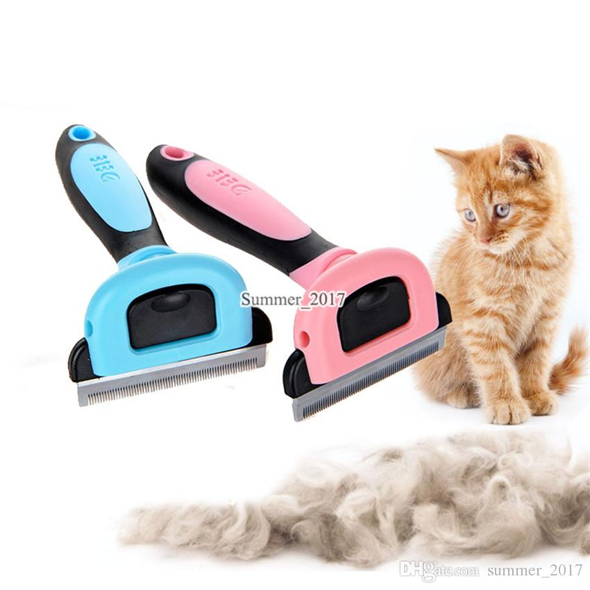 Spazzola cani Dematting Grooming Deshedding Strumento Trimmer in acciaio pettine Rastrello Pets Puppy BrushSuper Pink Blue 0704081