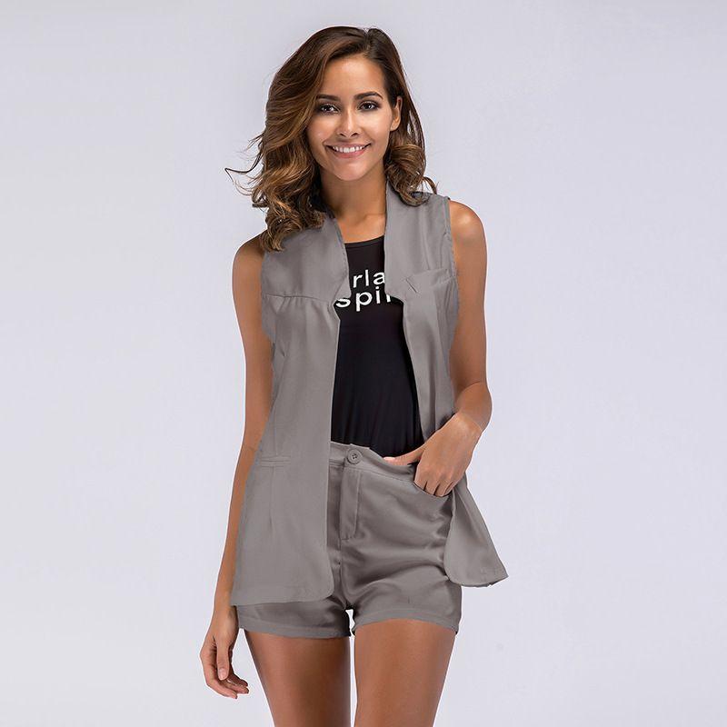 1b25a25d0ebe 2019 VITIANA Women Office Work Women Sets Clothes Female 2018 Summer  Elegant Black Sleeveless Shirt+Gray Shorts+ Jacket Set From Vanilla06