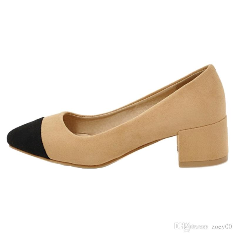 Smilice 2018 Woman Faux Suede Material Pumps with Pointed Toe and Chunky Heel for Fashion Elegant Woman with Large Size Available A085