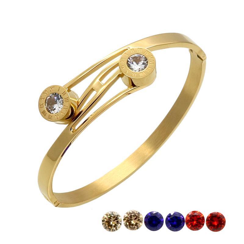 Números romanos Brazalete Oro Color Mujeres Cristal Boda Pulsera Intercambiable CZ Imitación Pulseras Brazaletes