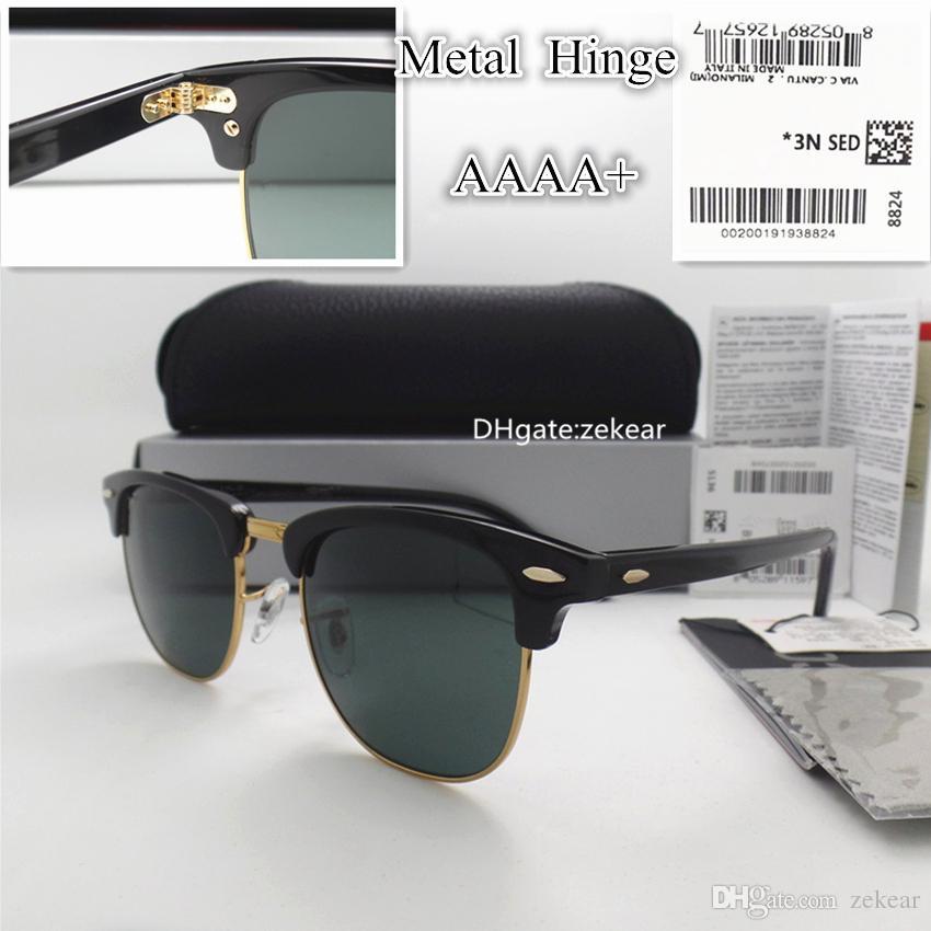 3ae5c6fe887c AAAAA Classic Glass Lens Men Women Sunglasses UV400 Plank Eyewear ...
