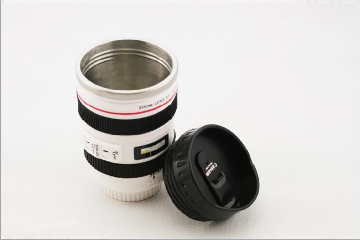 Camera Lens Mug 400ml Creative Portable Stainless Steel Cups Travel Vacuum Flask Milk Coffee Mug Novelty Cups Wholesale Drinkware 0703071