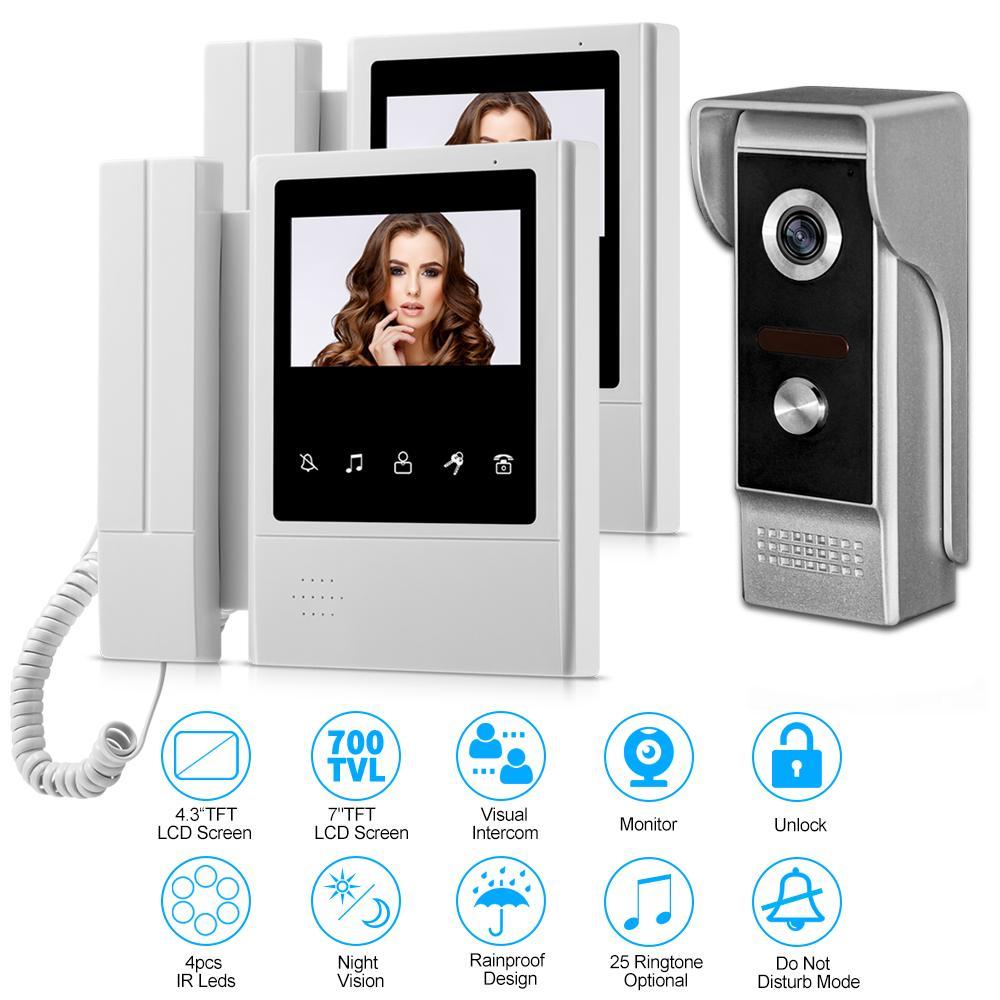 4.3\'\' Tft Lcd Wired Door Home Intercom Video Doorbell System ...