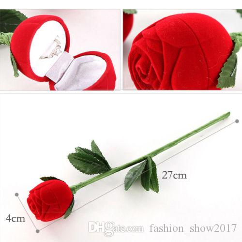 Girls Gift Charm Red Rose Flower Ring Box Party Wedding Earring Pendant Jewelry Gift Case Display Pack Boxes