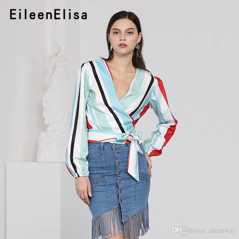 b105ebf54f 2019 Runway Blouse Shirts 2018 New Fashion Sexy Women V Neck Striped Blouses  And Tops Long Sleeve Casual From Ctranway