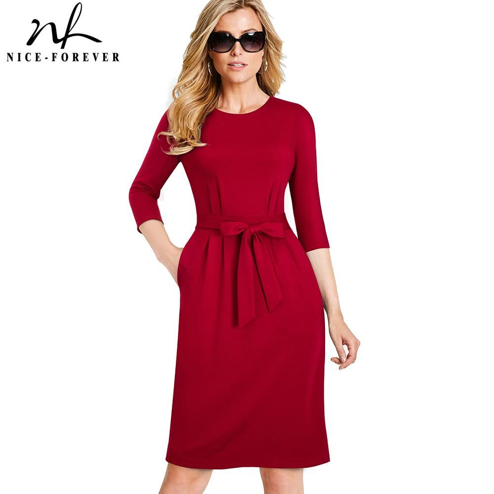Nice-forever Women Vintage Causal Wear to Work Elegant with Pocket Vestidos  Business Party Bodycon Office Female Dress B462 Dresses Cheap Dresses Nice  ... bad8efc7f59c