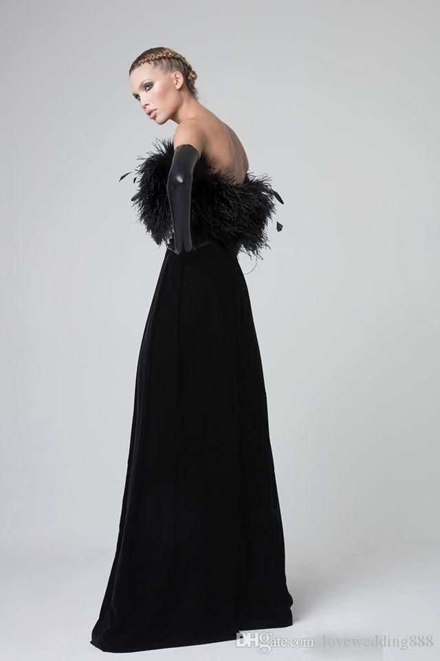 2019 Gothic Modern Black Prom Formal Dress Vestido De Festa Custom Made Velvet Feather Strapless Stylish Floor Long Evening Party Gown