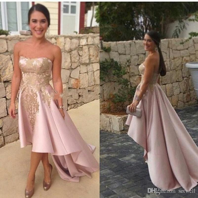 Sweet Pink High Low Bridesmaid Dresses Gold Appliqued Strapless ...