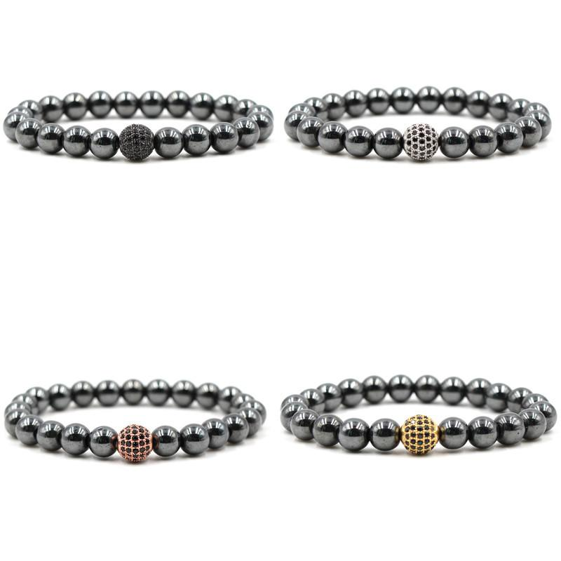 Black Stone Hematite Bracelets 8mm Natural Stone Cubic Zirconia Round Ball Bracelets & Bangles For Women & Men Bracelets Gift