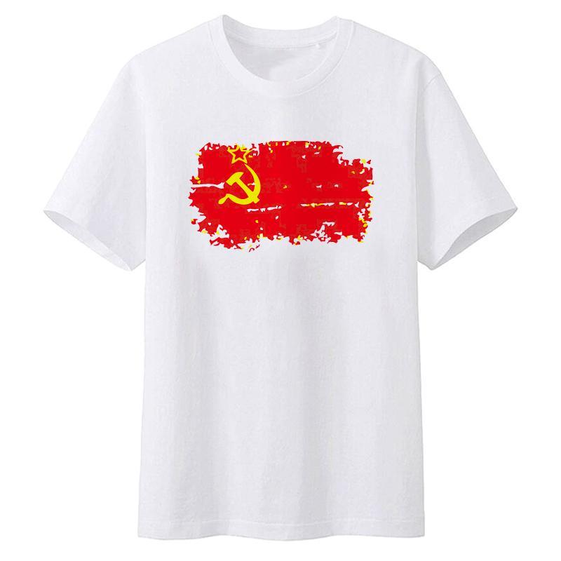 6923de68 Fashion But Nostalgic Style Soviet Union Flag men's T-shirt Short White  Color T shirts for Men Clothes