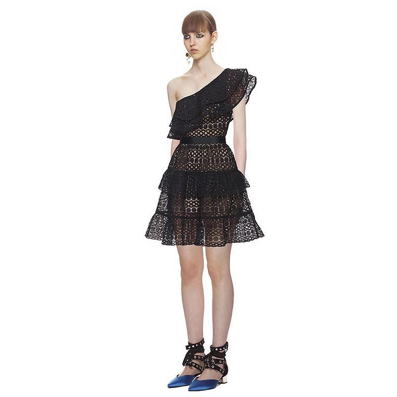 finest selection 6a3c1 0129f Abiti Mini in pizzo estivo Abiti moda monospalla Ragazza Abiti eleganti  Vestidos SWC1266 45