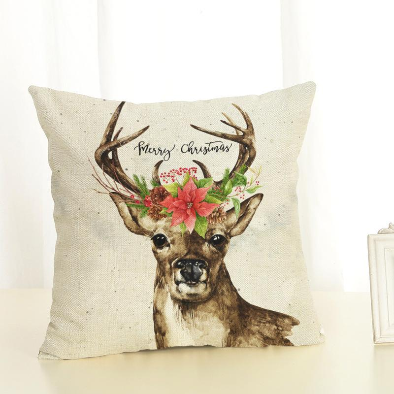 merry christmas elk office car seat home sofa cushion square linen pillowcase happy new year christmas decorations for home y18102609 unique christmas
