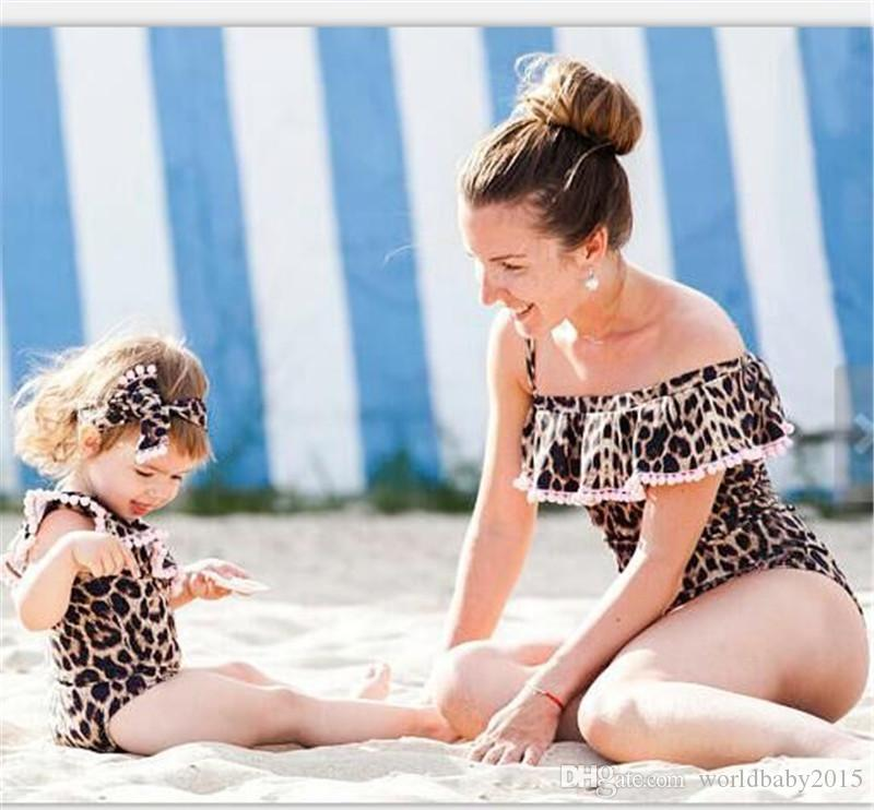 04a6688c22a5e Vieeolove Family Matching Swimsuit Mother Daughter Swimwear Ruffles Collar  Summer Beach Bathing Bikini Leopard One Pieces Swimsuit VL 449 Mommy And Me  ...