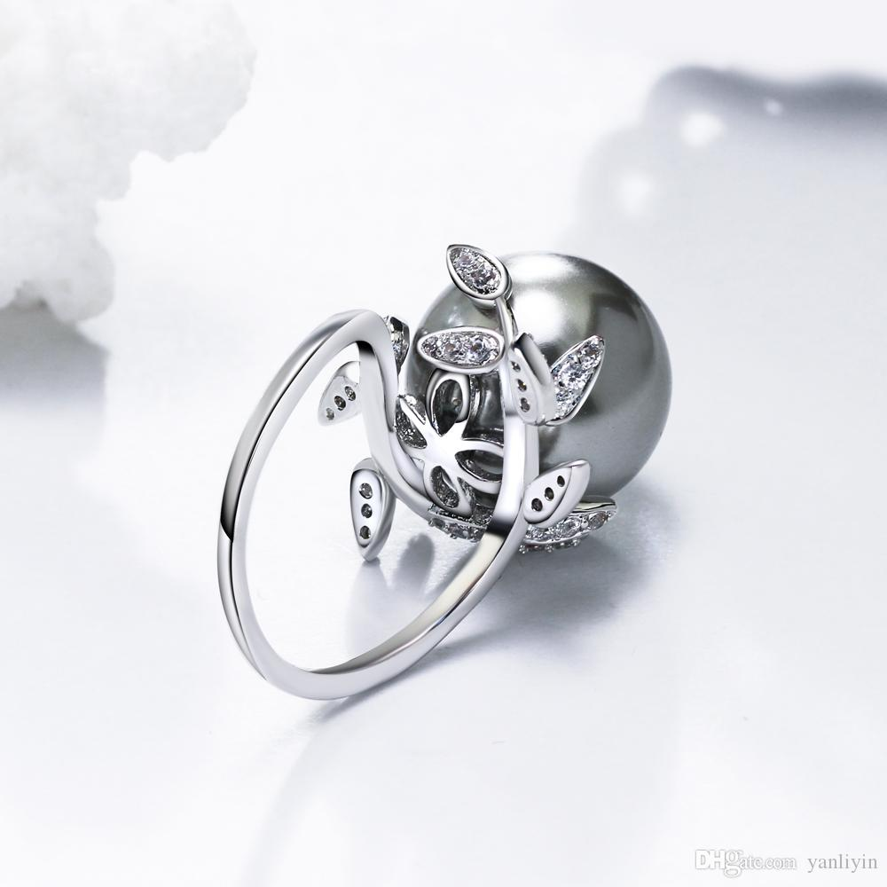 Fantastic Leaf ring with big Grey Pearl Trendy White jewellery dropshipping anel anillos aneis female jewelry rings