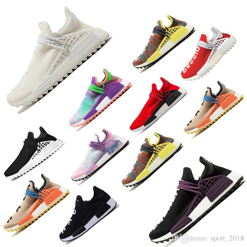 the latest 2ace7 1c94d Hot sale New Pharrell Williams Human Race men women Sports Running Shoes  Black White Grey primeknit PK runner womens Sneaker scarpe