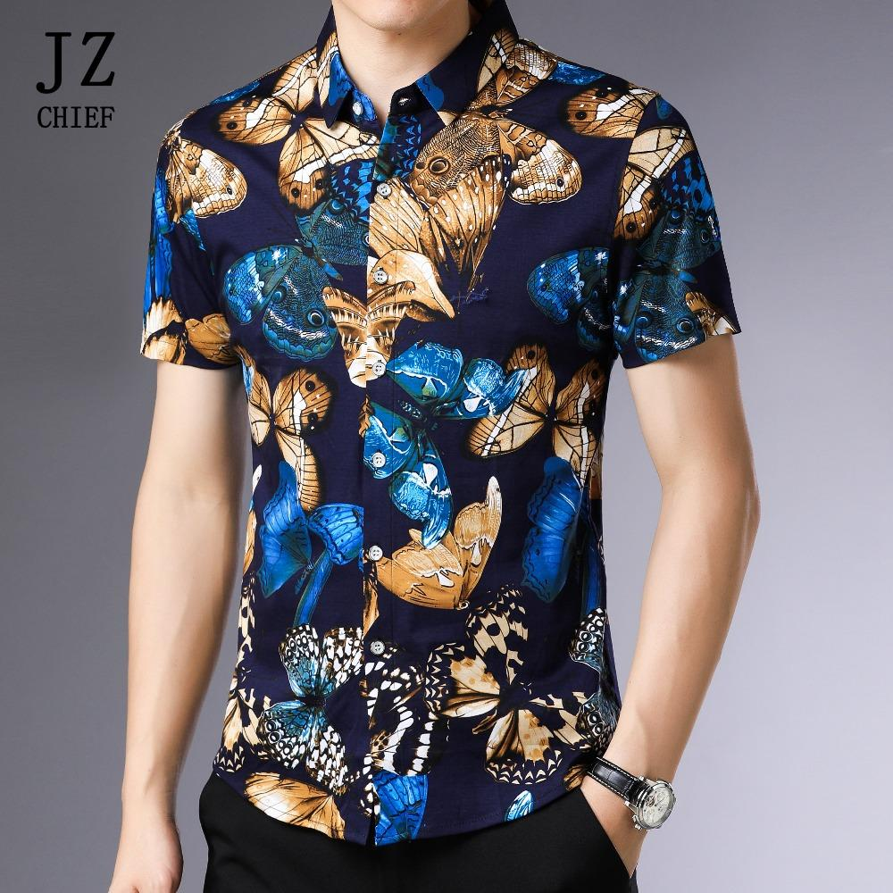 wholesale Vintage 100% Silk Cotton Shirt Butterfly Print Mens Shirts Short Sleeve Summer Casual Plus Size Comfortable Shirt Blue