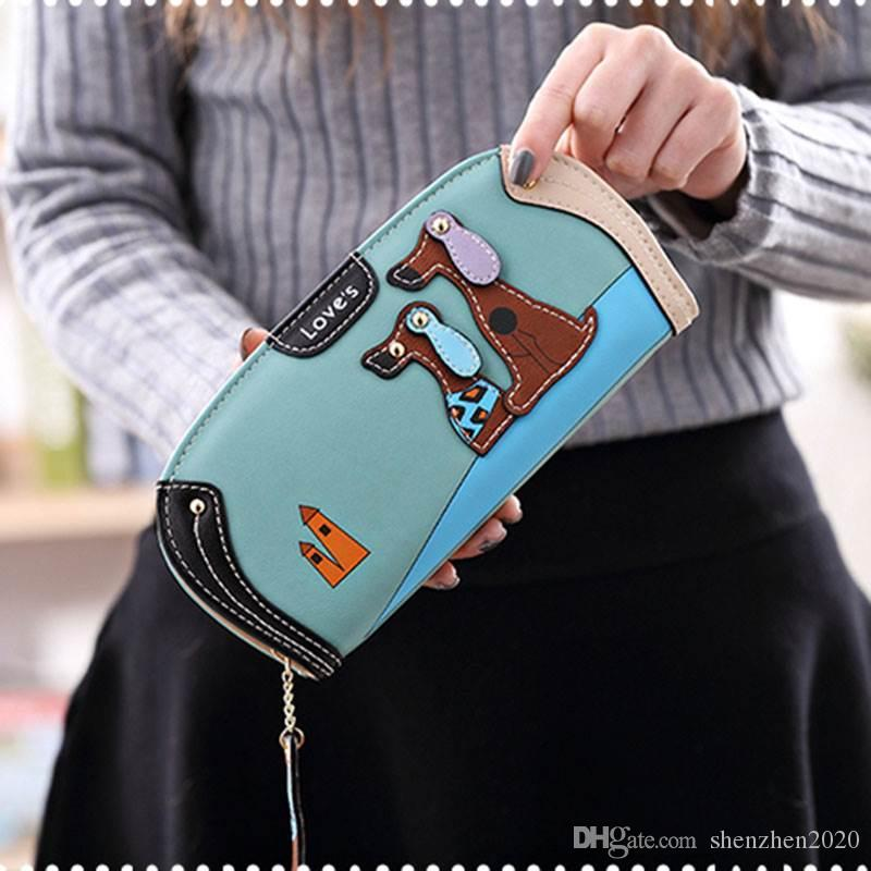 Fashion Women Cute Puppy Wallet Cartoon Dog PU Leather Women Purse Ladies Clutch Zipper Long Card Holder Free Shipping 2018 good